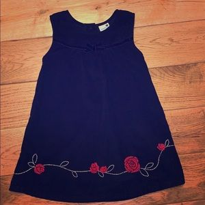 Black little girls dress with red rose embroidery